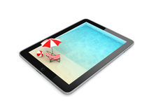 Tablet for Vacation Isolated on White Background, Illustration Royalty Free Stock Photos