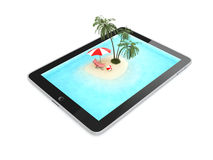 Tablet for Vacation Isolated on White Background, Illustration Royalty Free Stock Photography