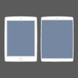 Tablet vector icon set isolated on black Stock Images