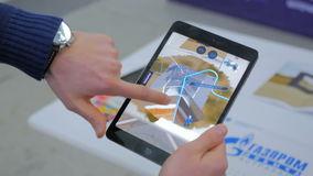 Tablet vergrößerte Wirklichkeits-APP Stockfotos