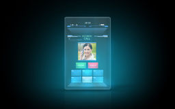 Tablet with video call interface on screen Stock Photos
