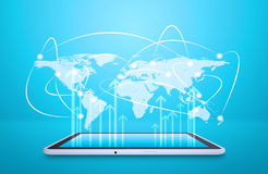 Tablet with virtual world map and connected dots Stock Photo
