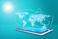 Tablet with virtual world map Stock Photo
