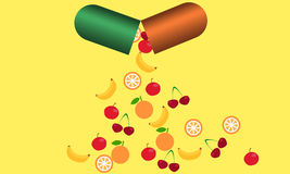 Tablet with vitamins. From the tablets fall fruits rich in vitamins. The concept of health Royalty Free Stock Photo