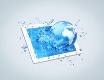 Tablet water world vector illustration