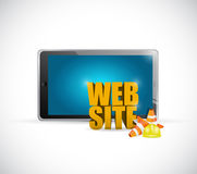 Tablet web under construction sign illustration Royalty Free Stock Image