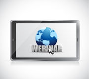 Tablet and webinar sign illustration design Stock Photo