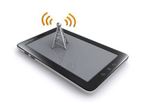 Tablet and wireless antenna Stock Photos