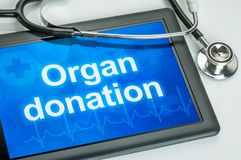 Free Tablet With The Text Organ Donation The Display Royalty Free Stock Image - 149990146