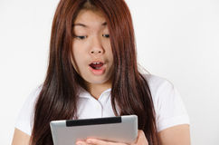 Tablet woman excited Stock Photos