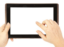 Tablet in woman hands Stock Images