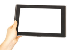 Tablet in woman hands Royalty Free Stock Images
