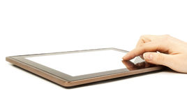 Tablet in woman hands Stock Photos