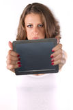 Tablet woman. Touchpad woman showing tablet PC Royalty Free Stock Photography