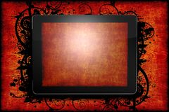 Tablet Wood Theme Stock Photography