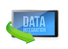 Tablet with word Data Integration on display. Illustration design over a white background Royalty Free Stock Photo
