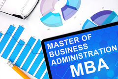 Tablet with word  MBA - Master of Business Administration and graphs. Royalty Free Stock Photography
