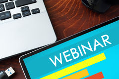 Tablet with word webinar. royalty free stock photos