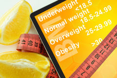 Tablet with words Body mass index BMI Royalty Free Stock Image