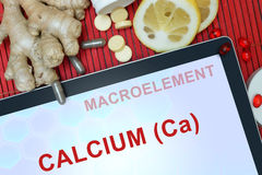 Tablet with words Calcium (Ca). Healthy eating Royalty Free Stock Photos