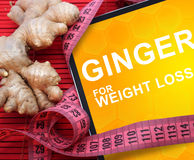 Tablet with words ginger for weight loss. Diet concept Stock Photography