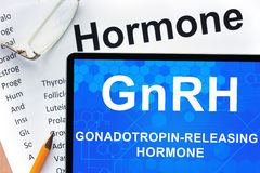 Tablet  with words Gonadotropin-releasing hormone (GnRH) . Royalty Free Stock Photography