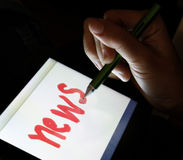 Tablet with words News Stock Photos