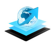 Tablet world globe Royalty Free Stock Photos