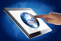 Tablet World Globe Stock Photo
