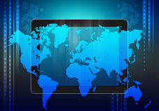 Tablet and world map on an abstract background. Royalty Free Stock Photo