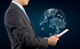 Tablet with world map royalty free stock photos