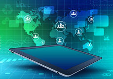 Tablet with world map and located on it people Royalty Free Stock Image