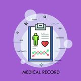 Tablet or writing pad with patient diagnosis details on it. Concept of medical record, monitoring and diagnostics, health indicators. Modern colorful vector vector illustration