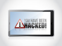 Tablet - You Have Been Hacked Sign Royalty Free Stock Photography