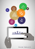 Tablet in zijn handen Concept mededeling in het netwerk Stock Afbeeldingen