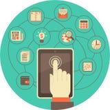 Tableta como herramienta para el negocio en círculo de la turquesa ilustración del vector