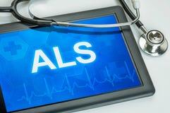 Tableta con el ALS del texto Foto de archivo