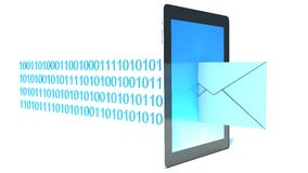 Tableta con el correo entrante Imagenes de archivo