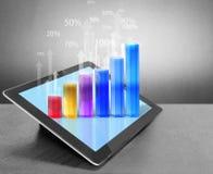 Tableta con el gráfico Imagen de archivo libre de regalías