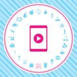 Tableta con el icono del botón de reproducción stock de ilustración