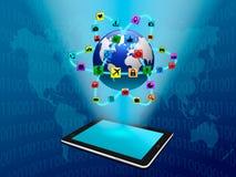 Tableta con el icono del uso stock de ilustración