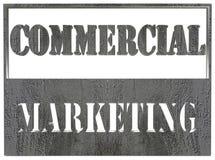 Tableta con el texto del márketing comercial en el fondo blanco Imagen de archivo