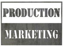 Tableta con el texto del márketing de la producción en el fondo blanco Foto de archivo