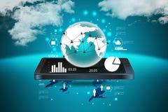 Tableta con establecimiento de una red global Imagen de archivo libre de regalías
