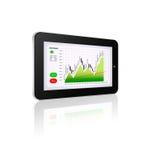 Tableta con la carta del mercado de acción aislada sobre blanco Imágenes de archivo libres de regalías