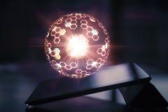 Tableta con la esfera que brilla intensamente stock de ilustración