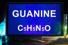 Tableta con la fórmula química de la guanina Foto de archivo libre de regalías