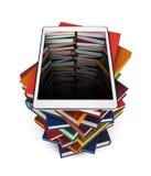 Tableta con la imagen del libro los agujeros en la pila de libros en el fondo blanco ilustración del vector