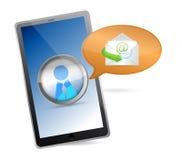 Tableta con la pantalla táctil - concepto del mensaje. Fotografía de archivo