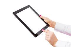 Tableta con la pantalla vacía aislada en el fondo blanco Imagenes de archivo